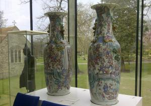 vases in the glass room at maidstone museum