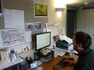 Greg working at Kent Wildlife Trust, emailing people about Lodge Hill Public Inquiry