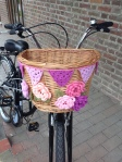 Bike with shopping basket decorated with crochet flowers