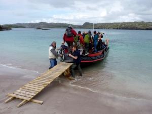 Boat leaving Handa Island