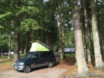Mazda Bongo on woodland campsite