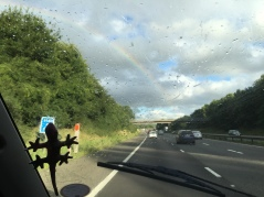 Rainbow through windscreen