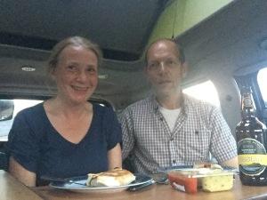 Dinner in a campervan