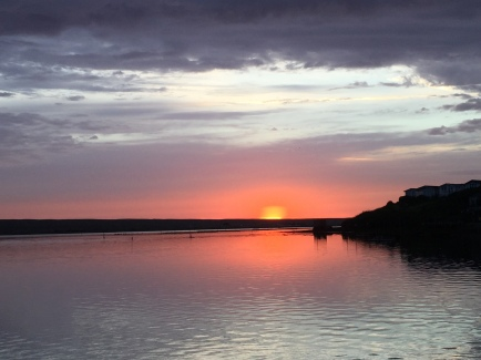 Sunset over the Fleet at Chesil Beact