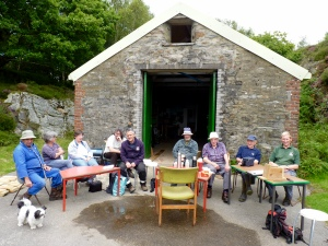 North Wales Wildlife Trust volunteers and site manager at Gwaith Powdwr nature reserve