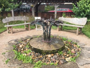 Wheat sculpture water feature Shropshire Wildlife Trust Vistor Centre